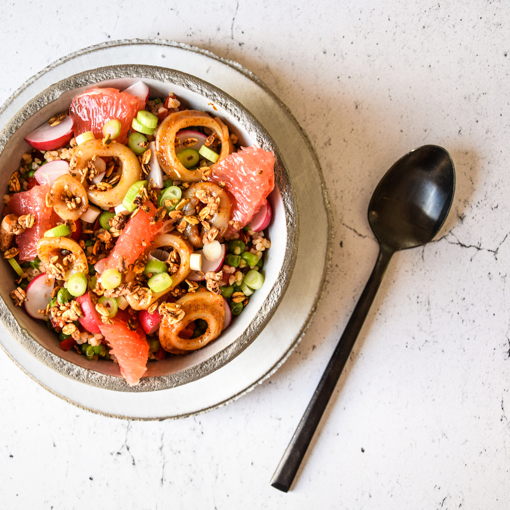 Vegetable couscous with squid rings, grapefruit and Sandra's turmeric quinoa granola