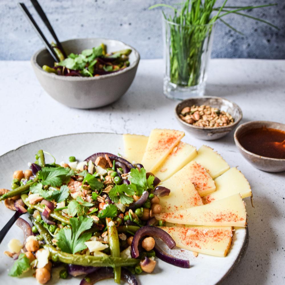 Legume salad with manchego, garden herbs and Sandra's cashew pumpkin granola