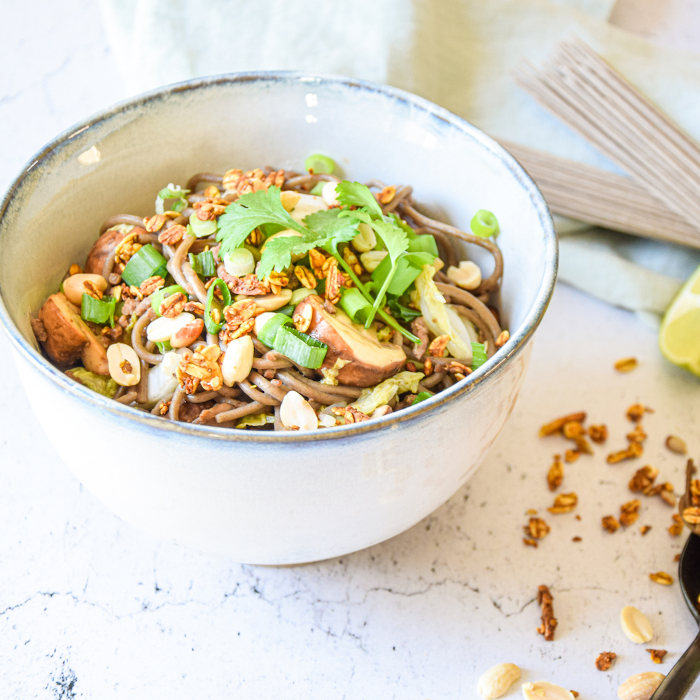 Chinese cabbage wok with soba noodles, veal mince and Sandra's turmeric quinoa granola
